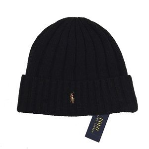 Polo Ralph Lauren Mens Wool Blend Black Beanie Hat
